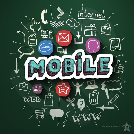 Mobile Internet collage with icons on blackboard. Vector illustration Vector