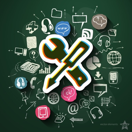 Internet technologies collage with icons on blackboard. Vector illustration Vector