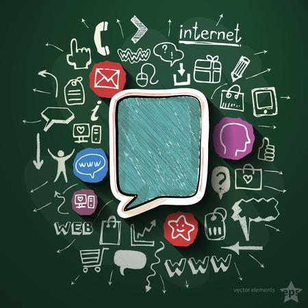 Mobile media collage with icons on blackboard. Vector illustration Vector