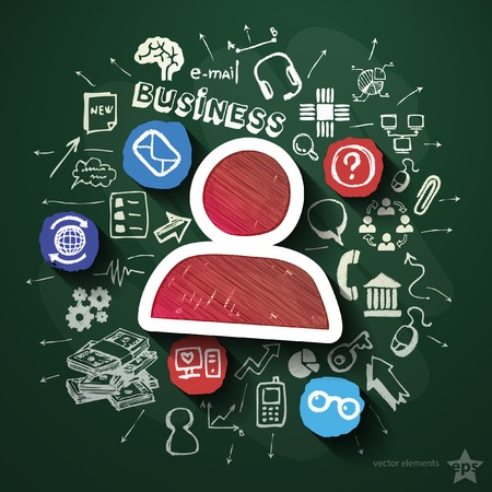 E-commerce collage with icons on blackboard. Vector illustration Vector