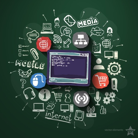 Web technologies collage with icons on blackboard. Vector illustration Vector