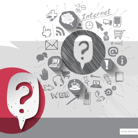 shopping questions: Paper and hand drawn question mark emblem with icons background. Vector illustration Illustration