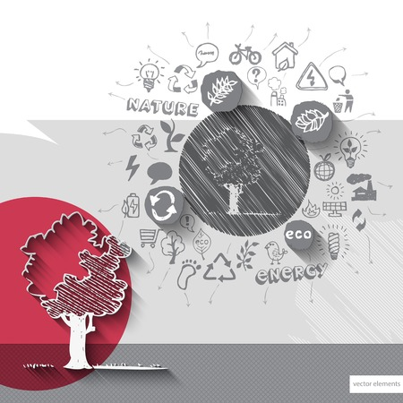 tremble: Paper and hand drawn tree tremble with icons background.  Illustration