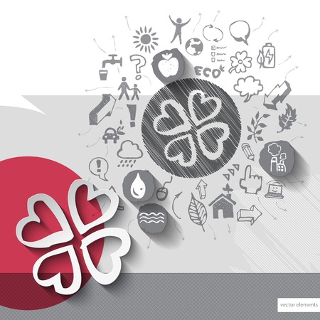 Paper and hand drawn clover emblem with icons background.  Vector
