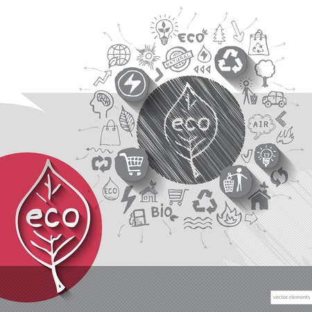 ecology emblem: Paper and hand drawn ecology emblem with icons background.