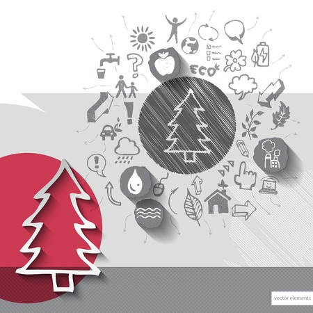 Paper and hand drawn tree emblem with icons background.  Vector