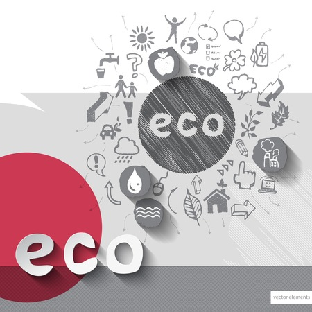 ecology emblem: Paper and hand drawn ecology emblem with icons background. Illustration
