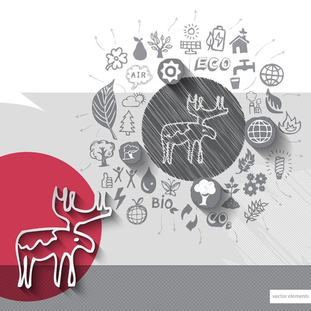 Paper and hand drawn deer emblem with icons background.  Vector