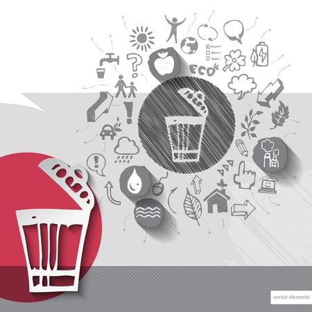 papelera de reciclaje: Papel y reciclar dibujado a mano bin emblema con iconos de fondo.