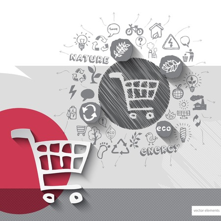 hand cart: Paper and hand drawn shopping cart emblem with icons background.  Illustration