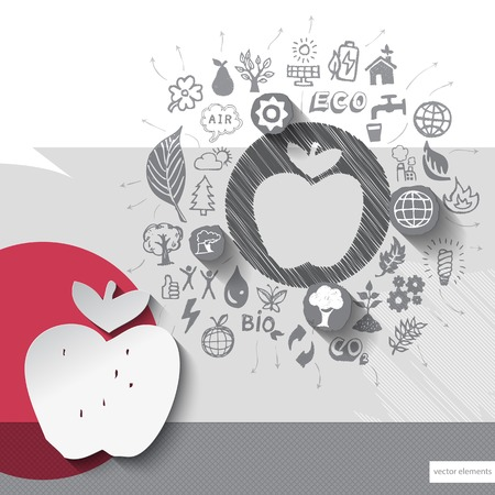 Paper and hand drawn apple emblem with icons background.  Vector