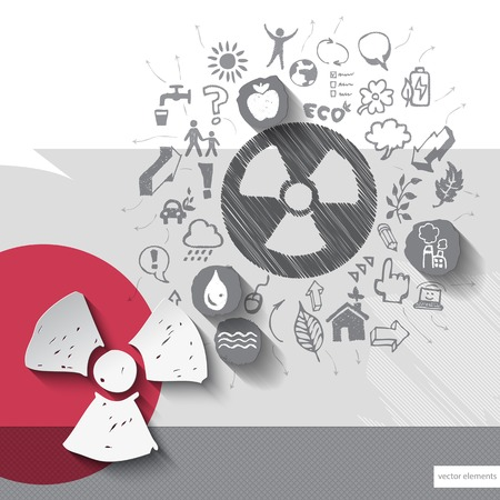 radioactivity: Paper and hand drawn radioactivity emblem with icons background.