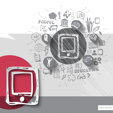 Paper and hand drawn smartphone emblem with icons background Vector
