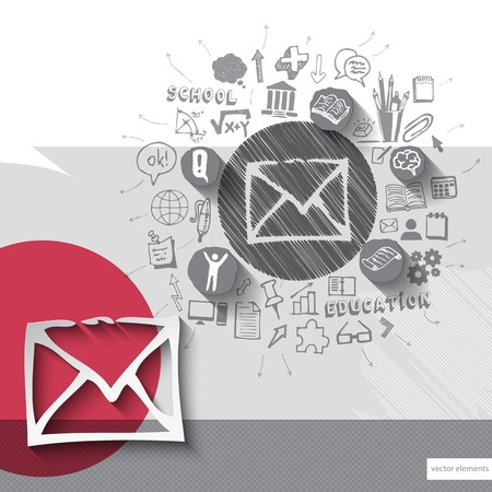 grungy email: Paper and hand drawn mail emblem with icons background Illustration