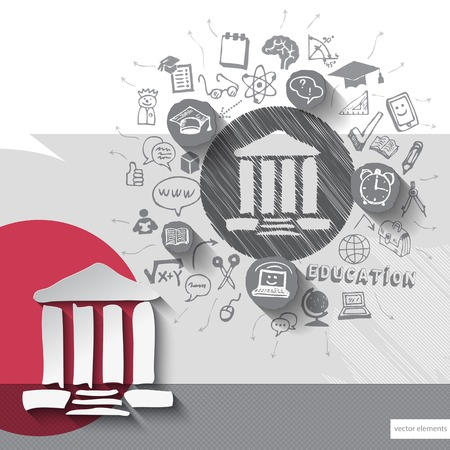 university building: Paper and hand drawn university building emblem with icons background