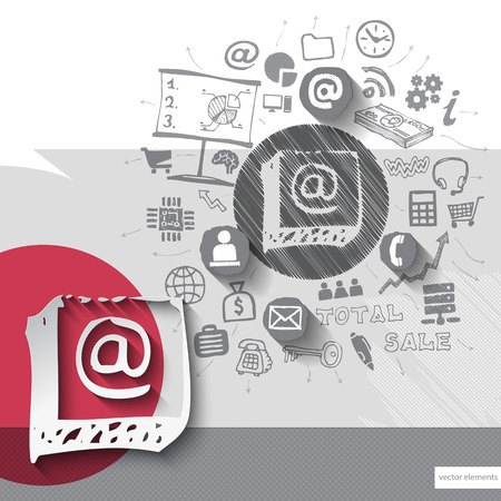 grungy email: Paper and hand drawn mail emblem with icons background. Vector illustration