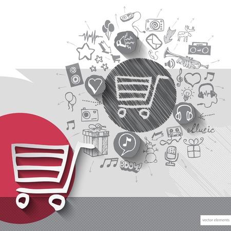 hand cart: Dibujado a mano cesta de la compra iconos con los iconos de fondo. Ilustraci�n vectorial Vectores