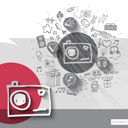 walkman: Hand drawn photo camera icons with icons background. Vector illustration Illustration