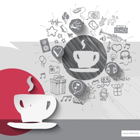 walkman: Hand drawn coffee icons with icons background. Vector illustration