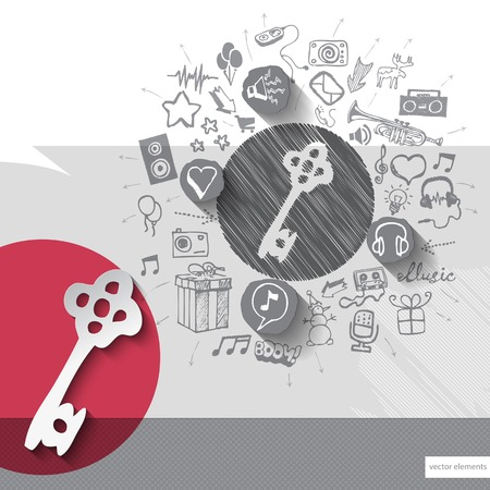 walkman: Hand drawn key icons with icons background. Vector illustration