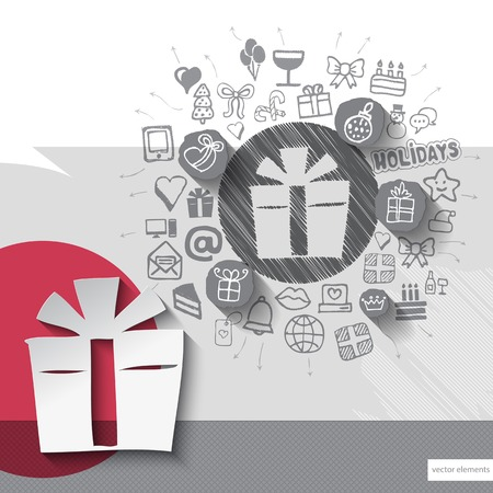 Hand drawn gift box icons with icons background. Vector illustration Vector