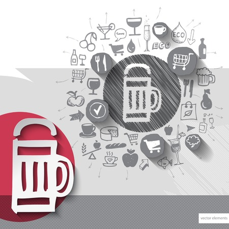 Hand drawn beer icons with food icons background. Vector illustration Vector
