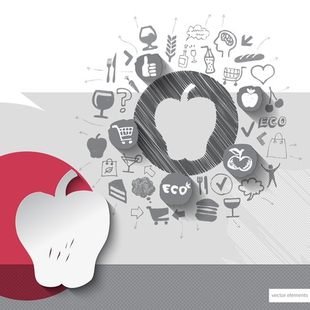 Hand drawn apple icons with food icons background. Vector illustration Vector