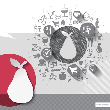 Hand drawn pear icons with food icons background. Vector illustration Vector