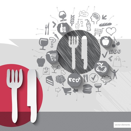 Hand drawn cutlery icons with food icons background. Vector illustration Vector