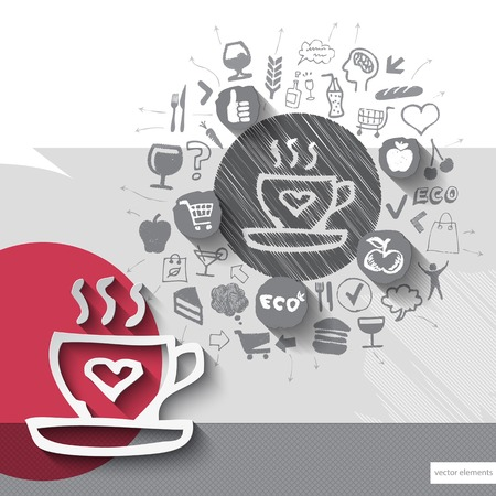 foodstuffs: Hand drawn coffee icons with food icons background. Vector illustration