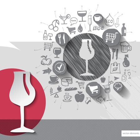 Hand drawn wine glass icons with food icons background. Vector illustration Vector