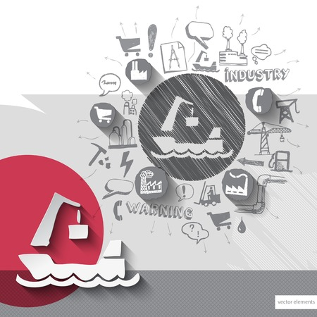 barge: Hand drawn barge icons with icons background. Vector illustration