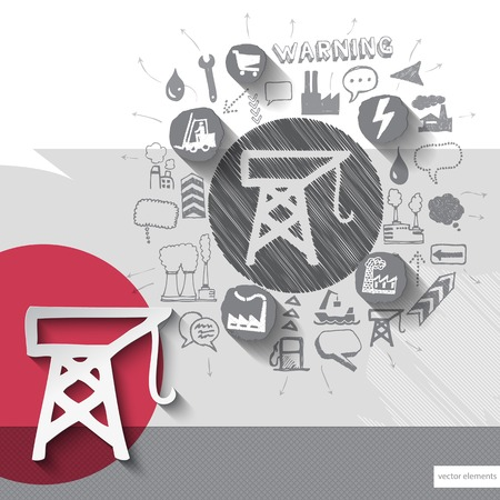 Hand drawn crane icons with icons background. Vector illustration Vector