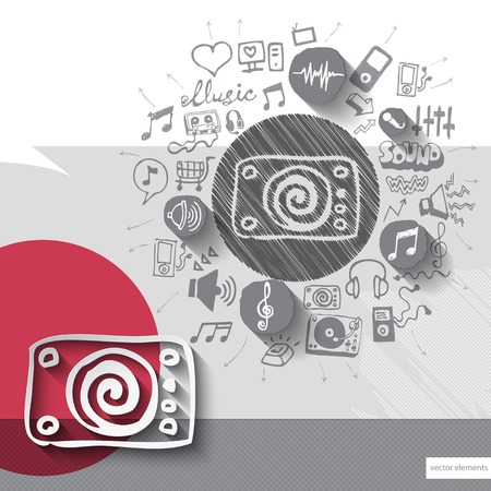dj turntable: Hand drawn dj turntable icons with icons background. Vector illustration