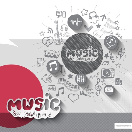 Hand drawn music notice icons with icons background. Vector illustration Vector