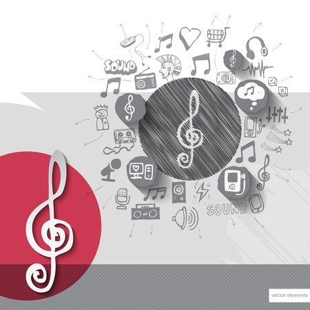 walkman: Hand drawn treble clef icons with icons background. Vector illustration Illustration