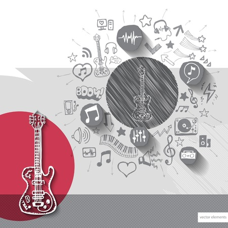 Hand drawn guitar icons with icons background. Vector illustration Vector