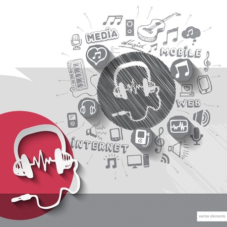 walkman: Hand drawn headphones icons with icons background. Vector illustration