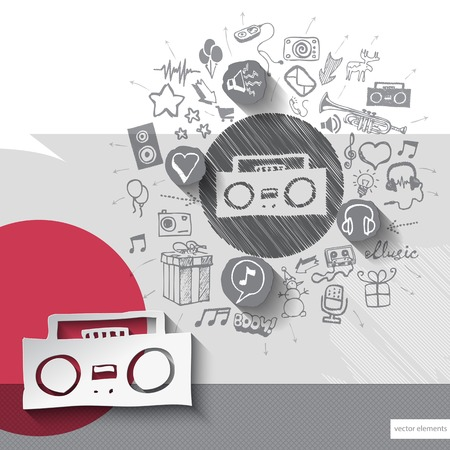 walkman: Hand drawn tape recorder icons with icons background. Vector illustration Illustration