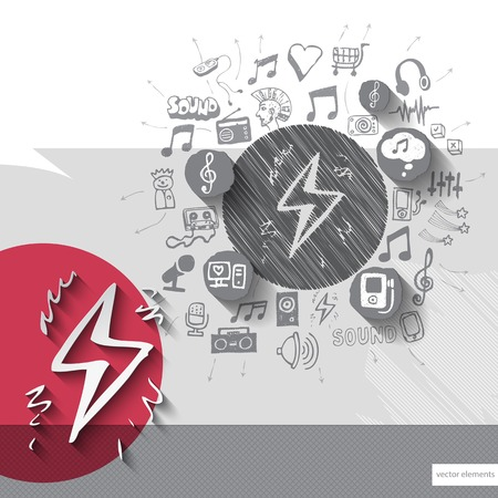 walkman: Hand drawn electricity icons with icons background. Vector illustration