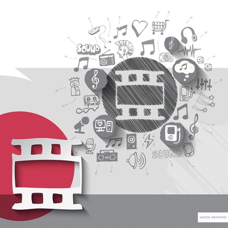 walkman: Hand drawn clip icons with icons background. Vector illustration Illustration