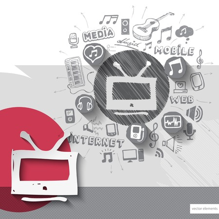 walkman: Hand drawn tv icons with icons background. Vector illustration