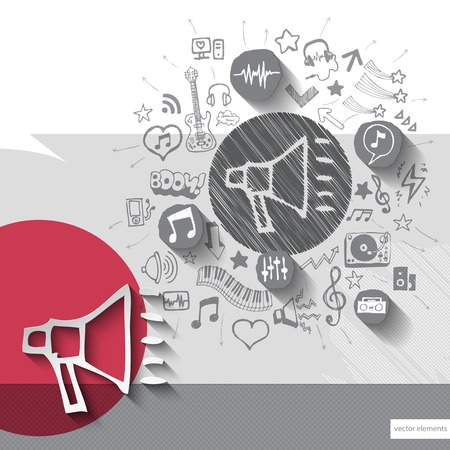 Hand drawn speaker icons with icons background. Vector illustration Vector