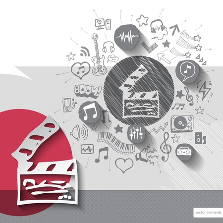 clapboard: Hand drawn clapboard icons with icons background. Vector illustration