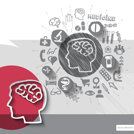 Hand drawn brain icons with icons background. Vector illustration Vector