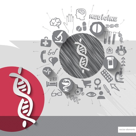 Hand drawn dna icons with icons background. Vector illustration Vector