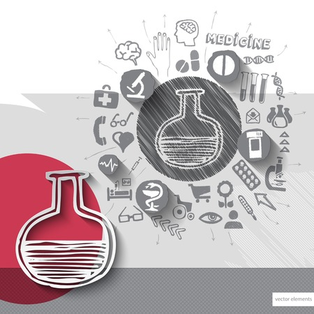 Hand drawn bulb icons with icons background. Vector illustration Vector