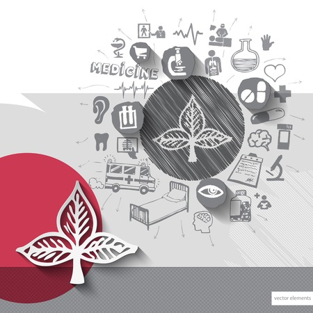 Hand drawn leaf icons with icons background. Vector illustration Vector
