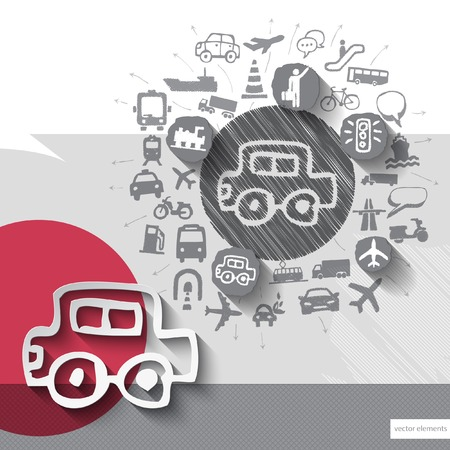 Hand drawn car icons with icons background. Vector illustration Vector