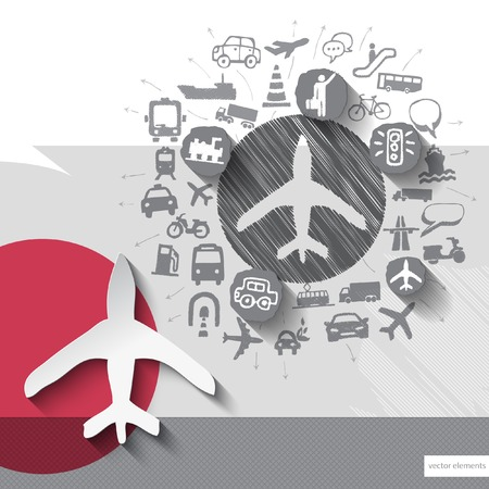 Hand drawn airplane icons with icons background. Vector illustration Vector